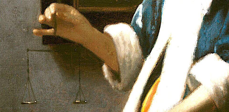 Johannes Vermeer, Donna con in mano la bilancia, 1664.