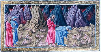 Dante, Inferno, Canto 32 esimo pone i parenti infami (malvagi traditor) nel lago gelato di Cocito